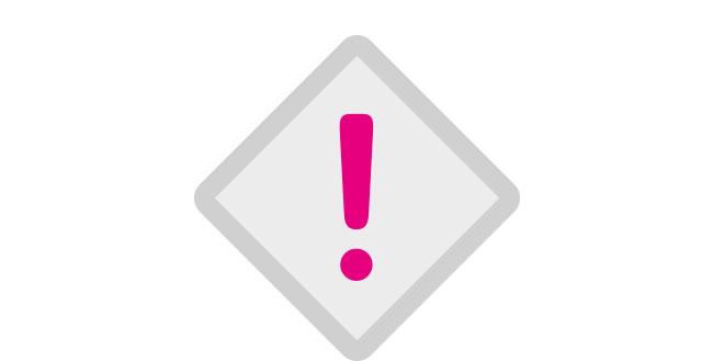 Icon Ausrufezeichen pink Druckvorgaben
