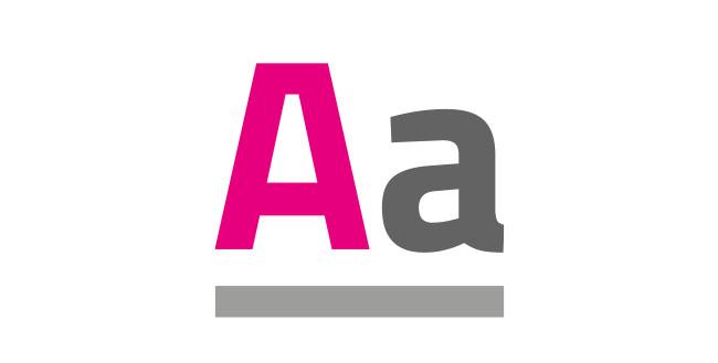 Schrift grau pink A a