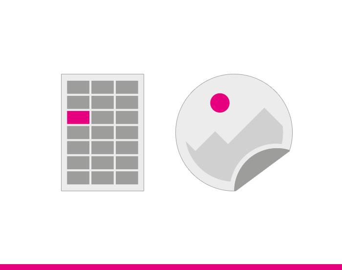 Icon Aufkleber rund und eckig